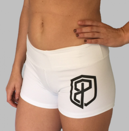 Born Primitive Renewed Vigor Booty Shorts (White w/ Black logo)