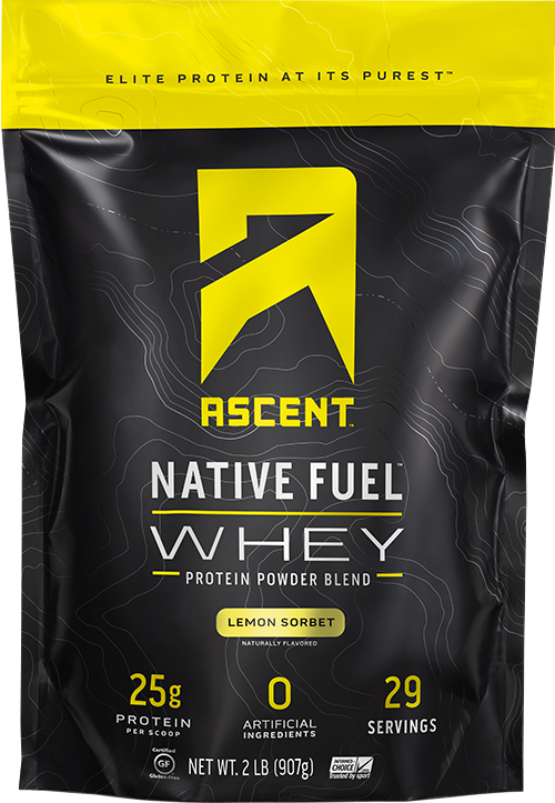 ascent native fuel whey protein powder lemon sorbet 2lb