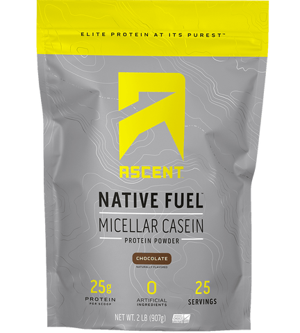 ascent native fuel micellar casein protein 2lb chocolate