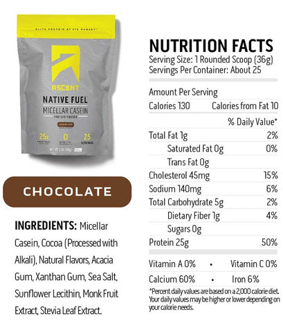 ascent native fuel micellar casein protein 2lb chocolate nutrition label