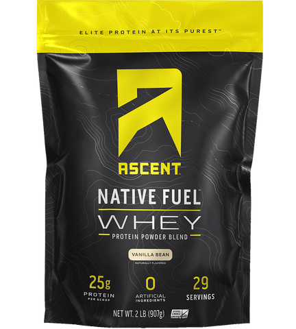 ascent native fuel whey protein powder vanilla bean 2lb