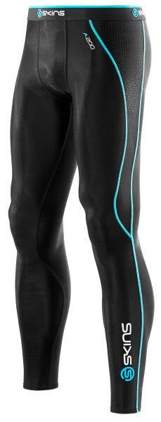 Skins A200 Men's Compression Long Tights Black and Neon Blue