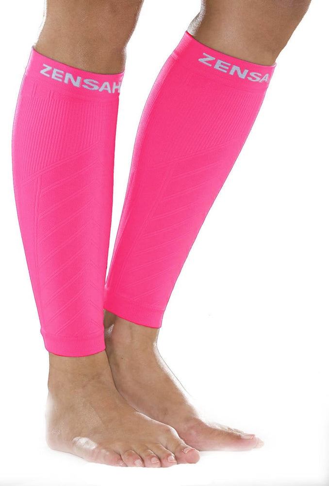 Zensah Neon Pink Compression Leg Sleeves