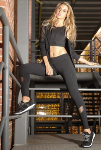 Moto Mesh Leggings (Black)