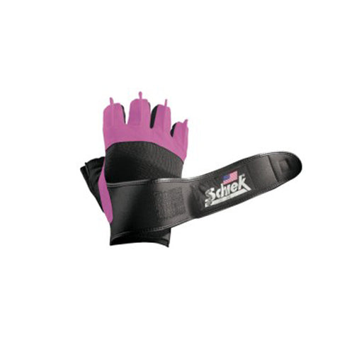 Schiek Platinum Series Lifting Gloves with Wrist Wraps-Pink