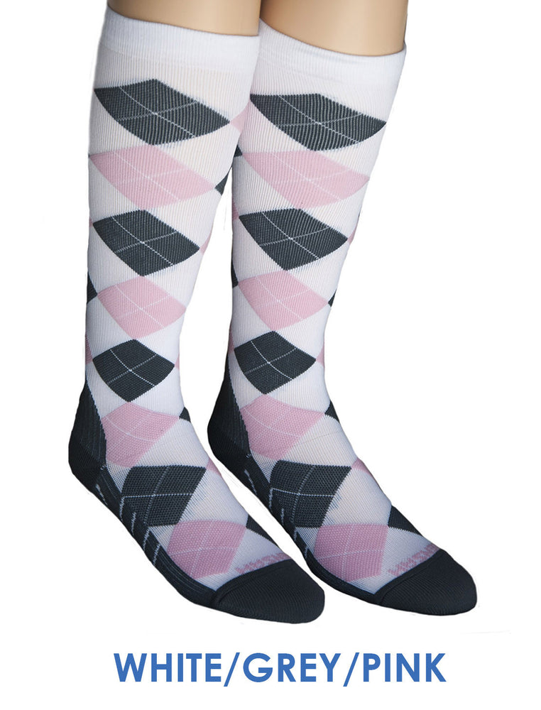 Zensah Argyle Compression Socks White/Grey/Pink