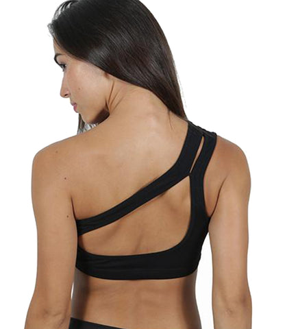 Mia on Black Sports Bra