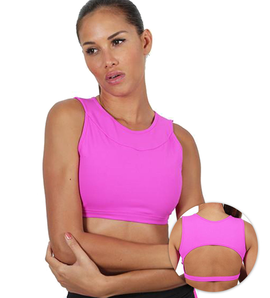 Serena on Pink Sports Bra