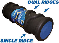 Durable black foam roller with dual ridges for deep tissue massage