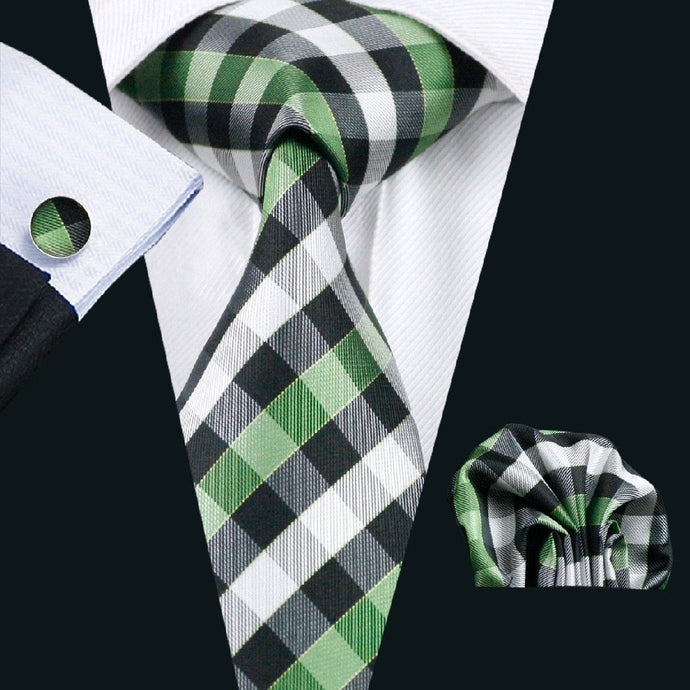 Green, Black and White Check