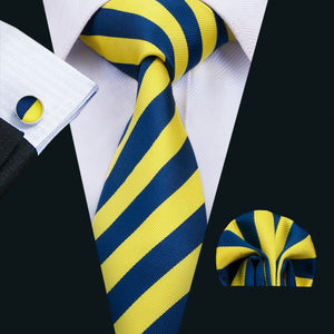 Blue and yellow striped tie set