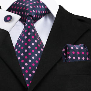 Navy and pink dot tie set