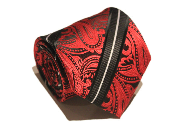 Tie - Red and Black Paisley