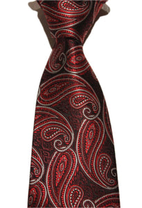 Tie - Red and Burgundy Paisley