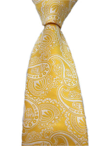 Tie - Yellow and White Paisley