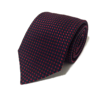 Classic Italian Tie - Navy and Red Geometric