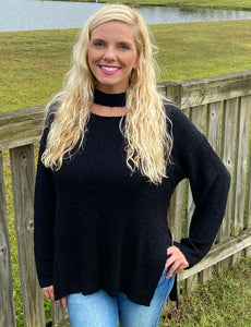 Black Cutout Neck Sweater