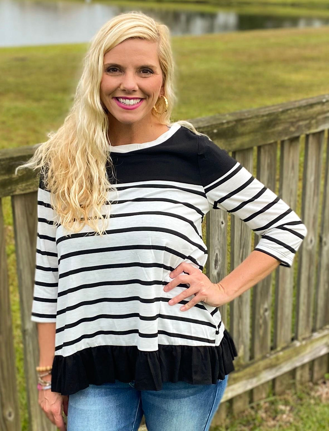 White/Black Striped Ruffle Top