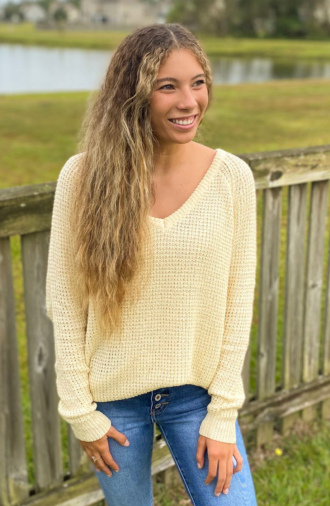 Oatmeal V-Neck Pullover Sweater
