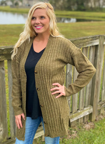 Olive Button Front Cardigan