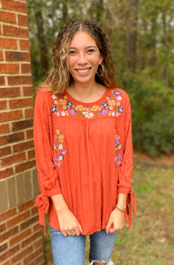Rust Floral Embroidered Top