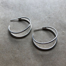 Load image into Gallery viewer, Crescent Hoops | Silver