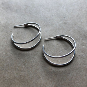 Crescent Hoops | Silver