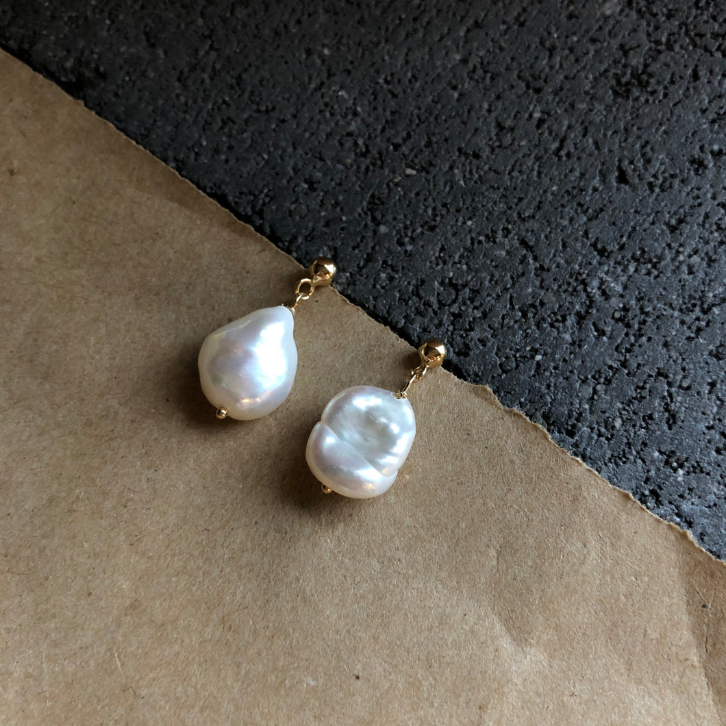 Baroque Pearl Earrings | Gold