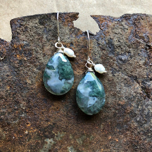 Moss Agate | Large Gemstone Earrings