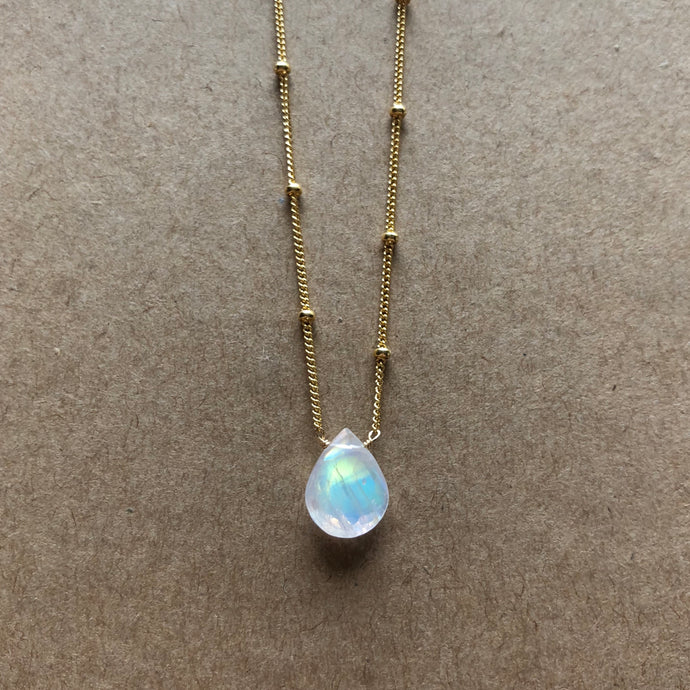 Rainbow Moonstone - Linnaea Necklace