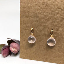 Load image into Gallery viewer, Rose Quartz - Linnaea Earrings