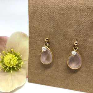 Rose Quartz - Rain Earrings