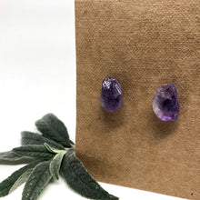 Load image into Gallery viewer, Raw Amethyst Studs