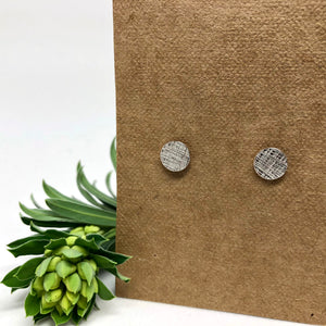 Silver Cross Hatch Studs