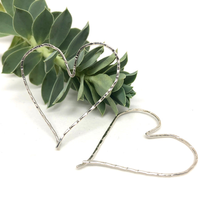Silver Heart Hoop Threader Earrings