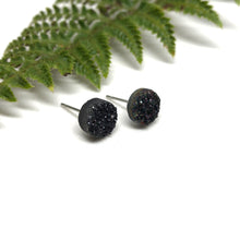 Load image into Gallery viewer, Black Druzy Studs