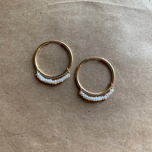 Cream Lustre Hoops | Gold