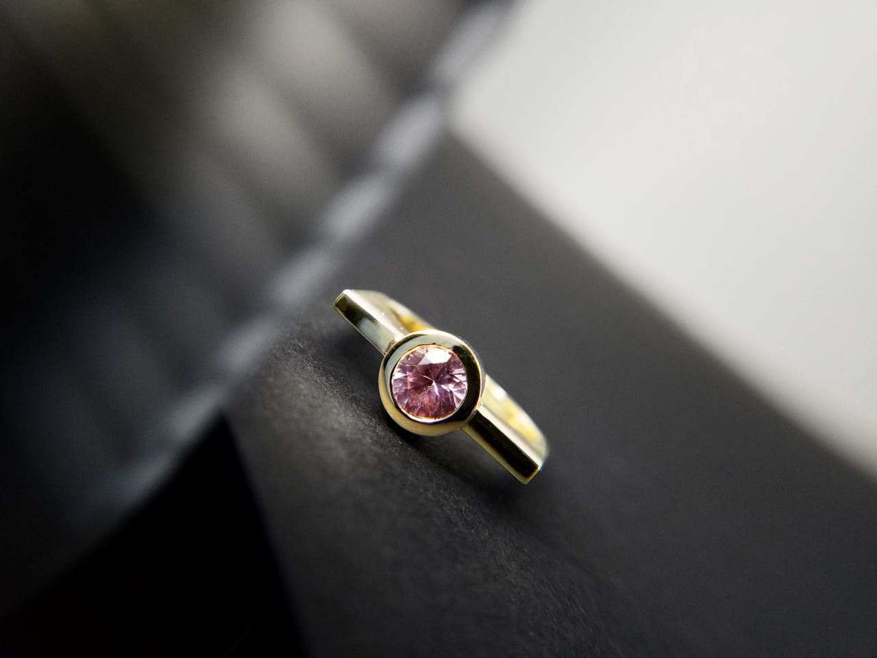 14k gold with sapphire