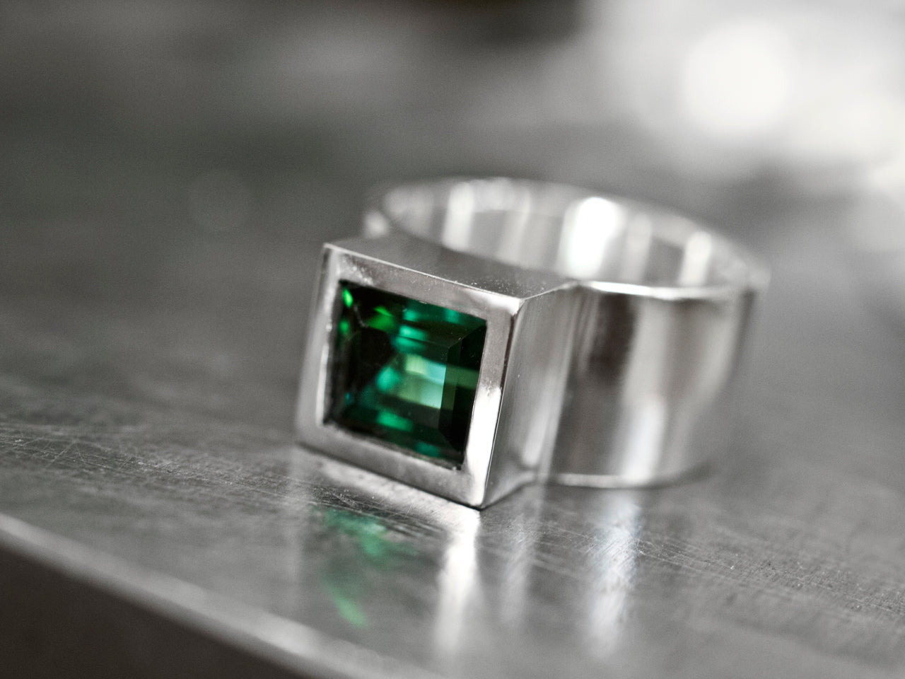 Silver with tourmaline
