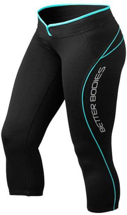 Better Bodies Shaped 3/4 Tights Black/Aqua (code: 20off)