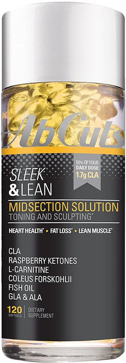 Ab Cuts Sleek and Lean Midsection Solution, Fat Burner for Men and Women, Lean Muscle, CLA, Fish Oil, Flaxseed Oil, L-Carnitine, 120 Softgels