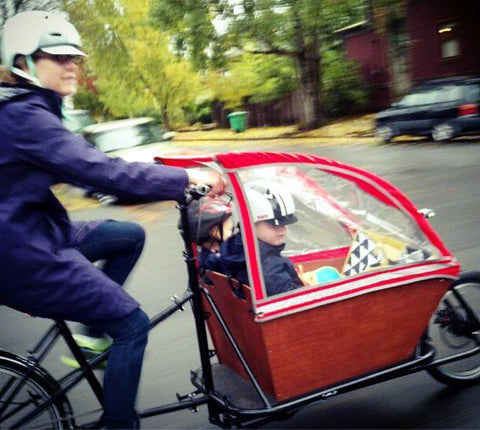 CETMA cargo bike, family bike for kid carrying, with rain canopy from BlaqPaks in Portland, OR.