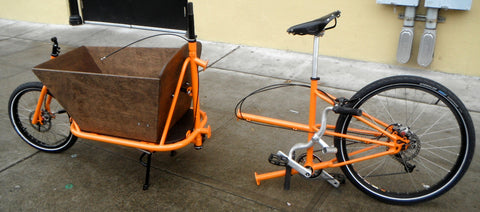 CETMA cargo bike, bi-partible frame for shipping, travel, and storage.