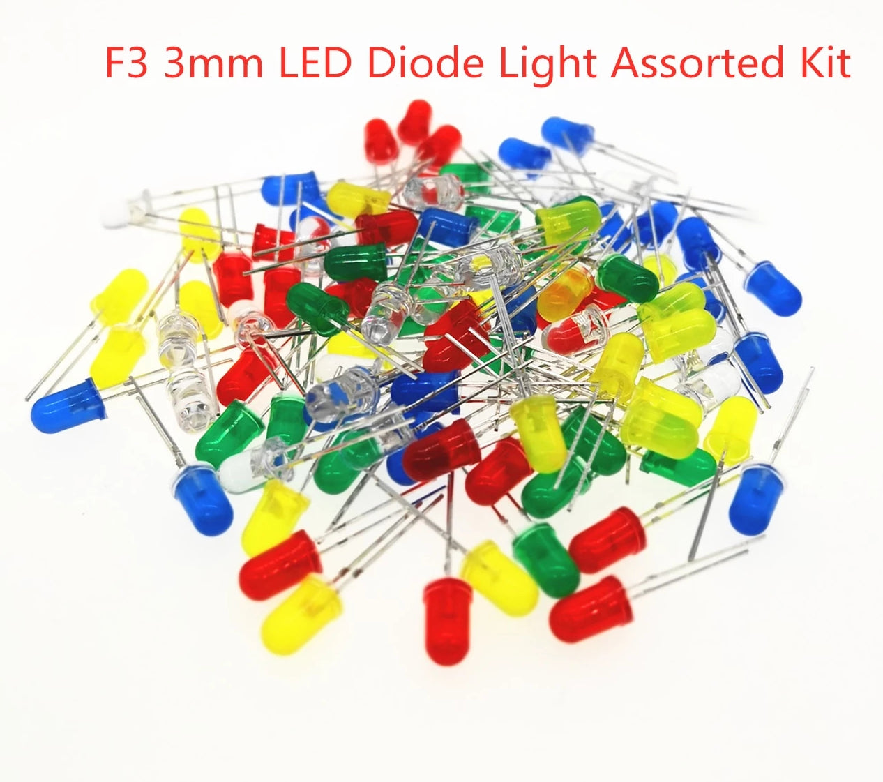 100pcs/lot 3MM Round Green Yellow Blue White Red Orange LED