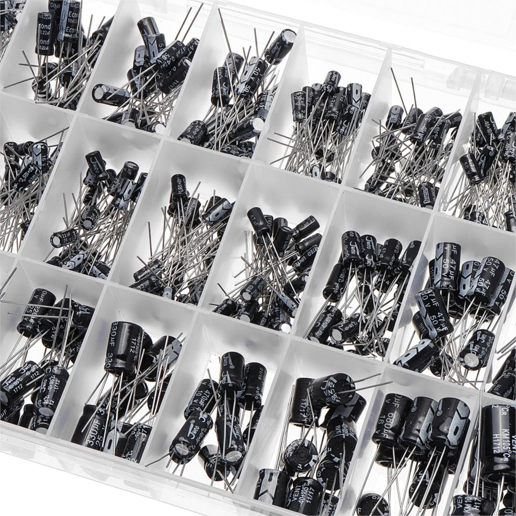 500Pcs/lot 0.1UF-1000UF 24Values Aluminum 16-50V Electrolytic Capacitors - PICTOROBO