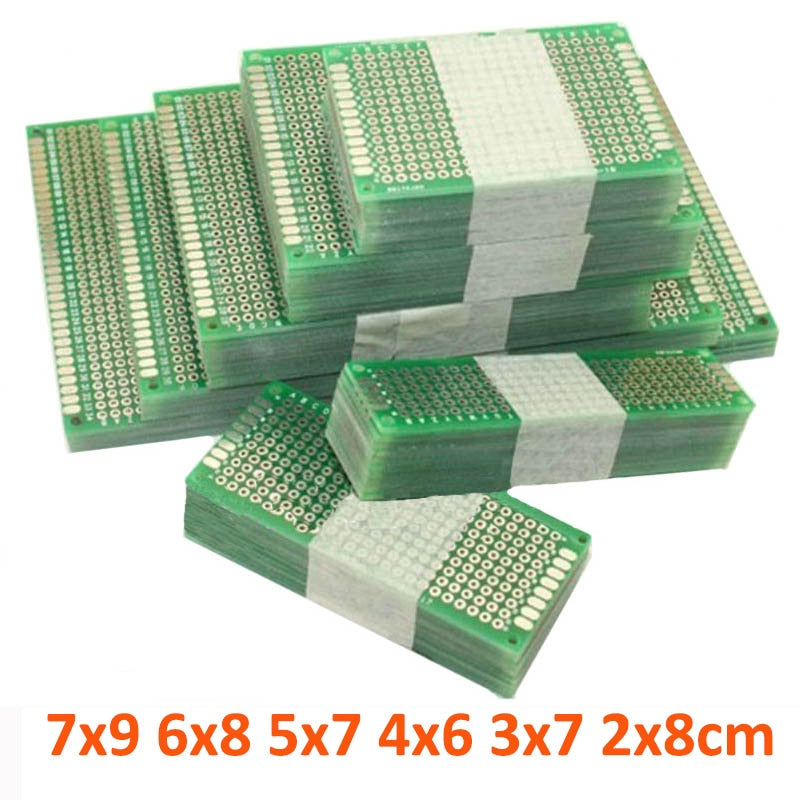 12pcs/lot 7x9 6x8 5x7 4x6 3x7 2x8cm Double Side Prototype Diy Universal Printed Circuit PCB Board Protoboard For Arduino