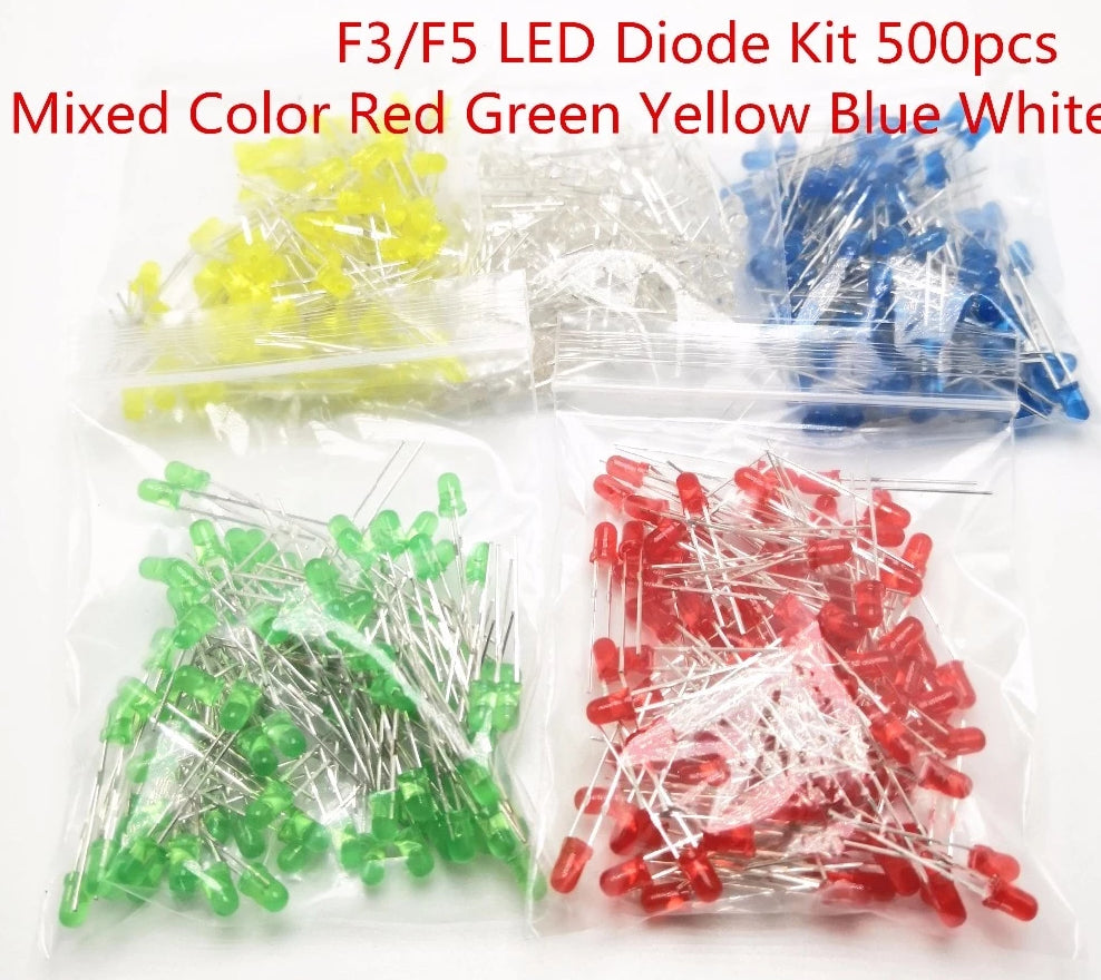 500 pcs/Lot 3MM Round Green Yellow Blue White Red Orange LED
