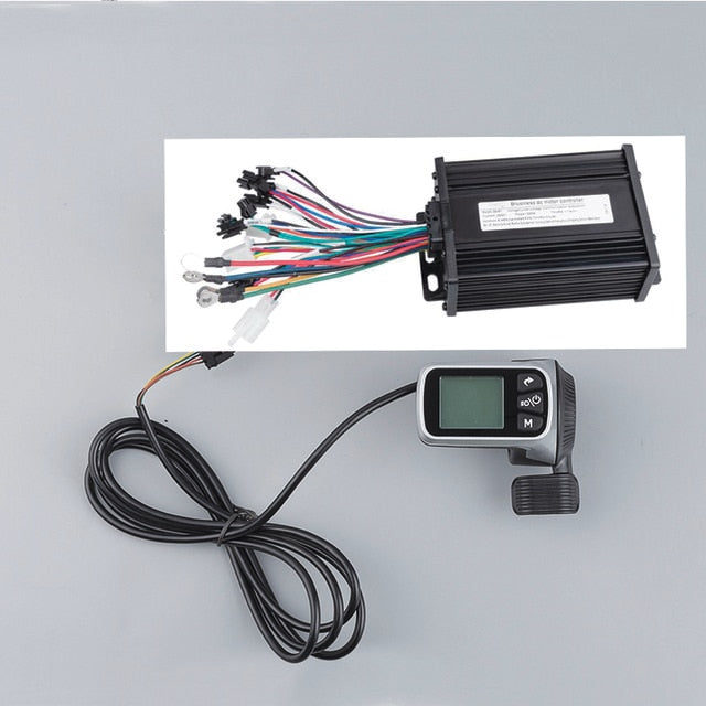 250W 350W 500W 24V 36V 48V Dual Mode Brush-less Motor Controller with LCD throttle For Electric Bicycle - PICTOROBO