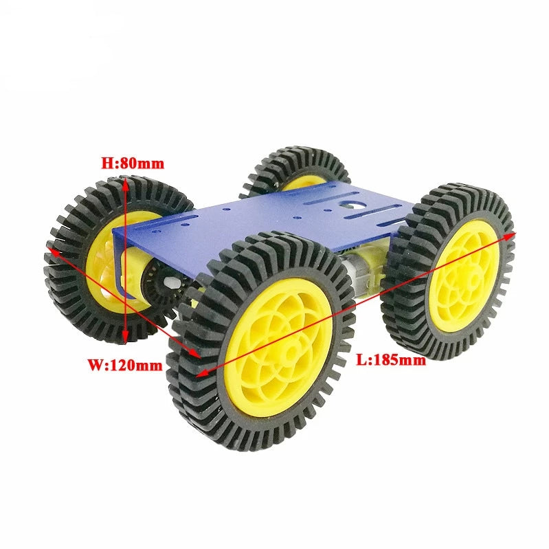 Smart Robot RC Car Kit With 2mm Aluminum Chassis, 4pcs TT Motor, 4pcs 80mm Rubber Wheel For Arduino Project - PICTOROBO