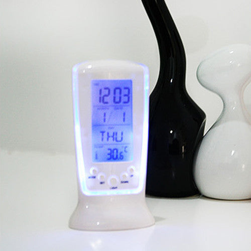 LED Digital Alarm Clock with Blue Backlight  Calendar Thermometer Gift - PICTOROBO